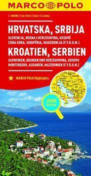 Chorvatsko, Srbsko, Slovinsko, Bosna 1:800 000 - Hrvatska Srbija Kroatien Serbien