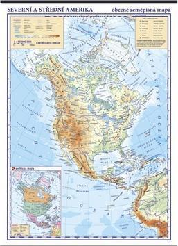 Severní Amerika fyzická mapa - nástěnná mapa